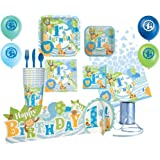 Baby Boy Animal Safari 1st Birthday Party Celebration 105pc Supply Bundle! Includes - Plates, Napkins, Cups, Tablecover, Cutlery, Centerpiece, Balloons and Curling Ribbon for 8 Guests!