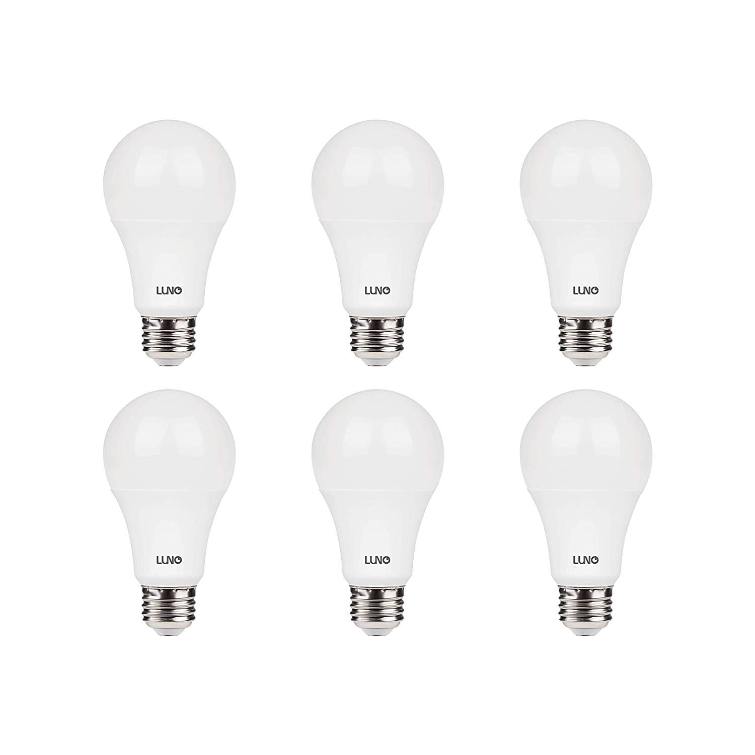 LUNO A19 Dimmable LED Bulb, 11W (75W Equivalent), 1100 Lumens, 2700K (Soft White), Medium Base (E26),UL & Energy Star (6-Pack)