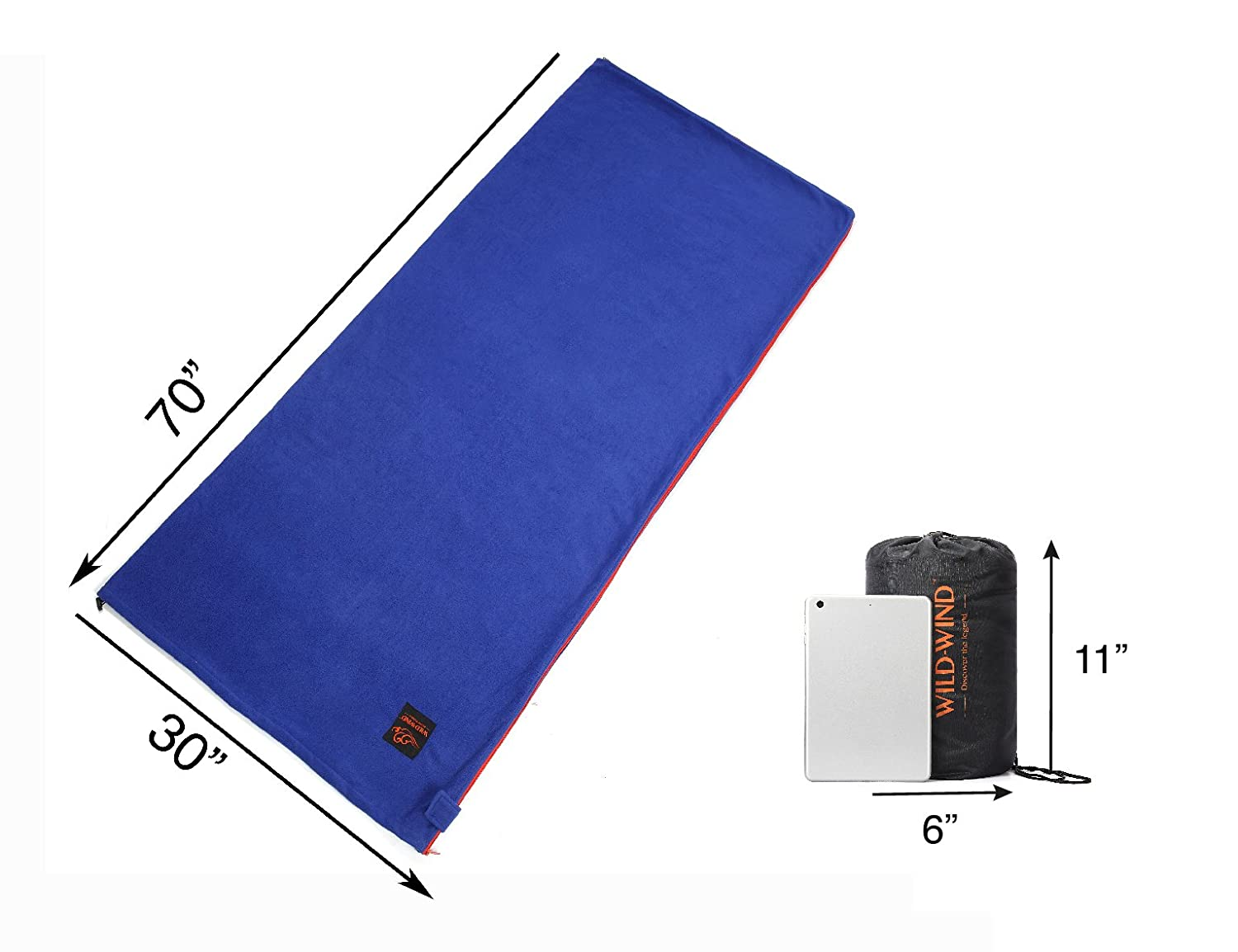 234f87d72a Amazon.com   WILD-WIND Warm Polar Fleece Zippered Sleeping Bag Liner for  Spring with Carry Storage Bag Backpacking Blanket (Blue)   Sports   Outdoors