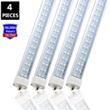 """JESLED T8/T10/T12 8FT LED Tube Light, Single Pin FA8 Base, 50W 6000LM, 5000K Daylight, 96"""" Dual Row LED Fluorescent Bulbs (130W Replacement), Clear Cover, Dual-Ended Power (Ballast Removal)"""