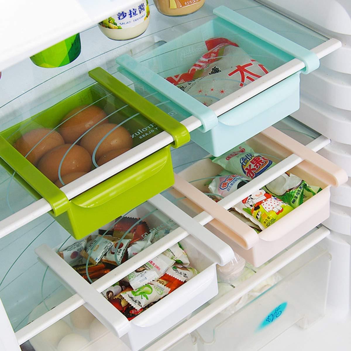 Multifunction Refrigerator Drawer Fridge Storage Box Rack Shelf Holder Slide Fridge Organizer Kitchen Accessory (Color : Blue, Size : 15.5cm x 16.5cm x 7cm)