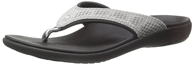 Spenco Women's Breeze Sandal Slide, Black/Silver, 9 M US best women's flip flops for plantar fasciitis