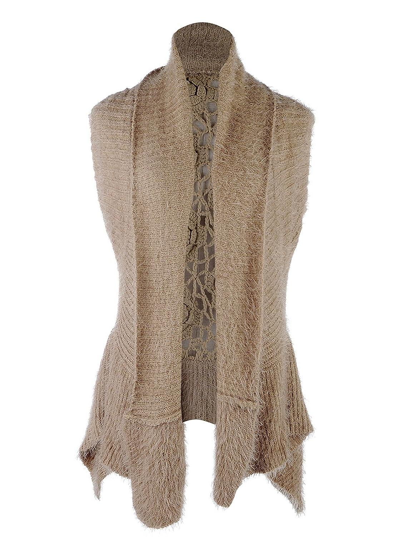 Anna Kaci S/M Fit Womens Classic Intricate Crochet Open Cardigan Brown