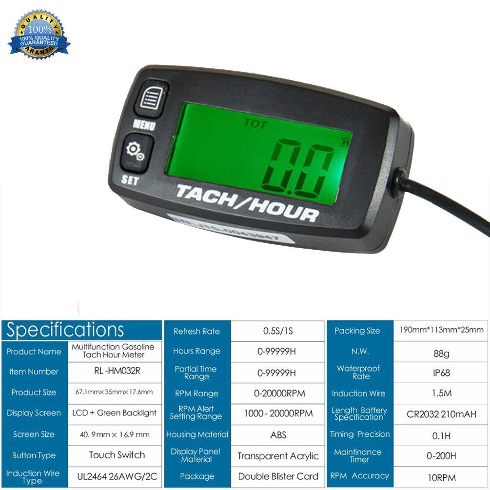 Motor, tacometro digital medidor de horas reseteables medidor inductivo retroiluminados para motocicleta Marine planeador ATV quitanieves Lawn Mower ...