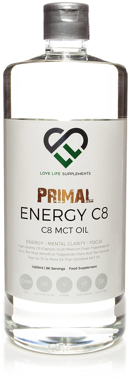LLS Primal Energy C8 MCT Aceite | Nuevo precio introductorio | Botella de 1000ml | Adecuado para Vegans, Vegetarianos y Paleo/Keto LCHF Dietas z| ...