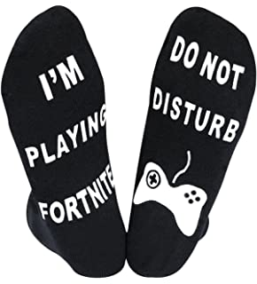YILLEU Mens Womens Cotton Novelty Ankle Socks Tall Socks with Anti Slip Letters Great Gift for