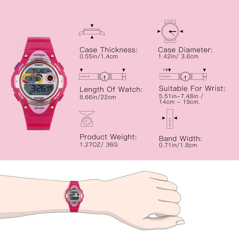 PASNEW LED resistente al agua 100 m Sports reloj Digital para niños niñas niños (rosa): Amazon.es: Relojes