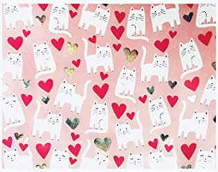 Cynthia Rowley Cat Whimsical Hearts Premium Foil Gift Wrap Wrapping Continuous Paper Roll, Pink
