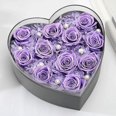 Rosas en una Caja de Regalo Preservado Flor Rosa Corazón ...
