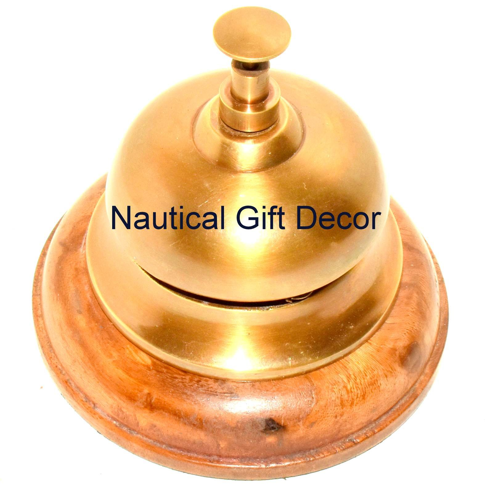 RTDC Counter Bell, Bell on wooden base, Hotel Bell, Table Bell, Brass