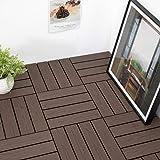 "PANDAHOME 1 PCS Wood Plastic Composite Patio Deck Tiles, 12""x12"" Interlocking Decking Tiles, 1 sq. ft - Brazilian Ipe Sample"