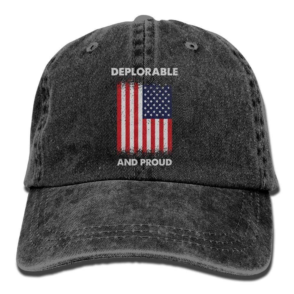 Deplorable and Proud American Flag Unisex Baseball Cap Cotton Denim Adjustable Sun Hat for Men Women