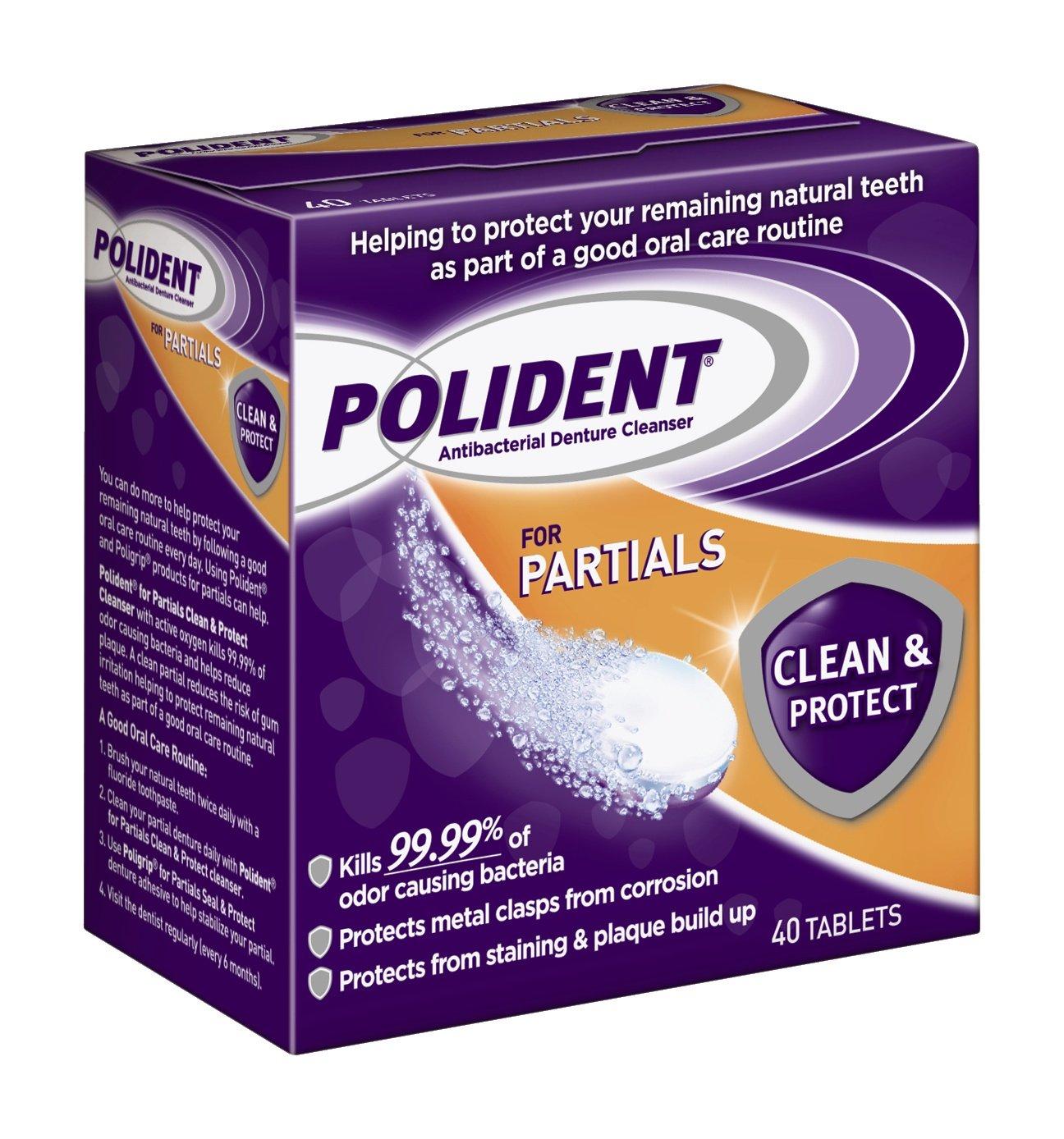 amazon com polident polident partials denture cleanser 40 count