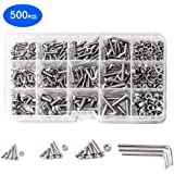 M3 M4 M5 500PCS 304 Stainless Steel Screws and Nuts Hex Button Socket Head Cap Screw Set (500PCS Button)