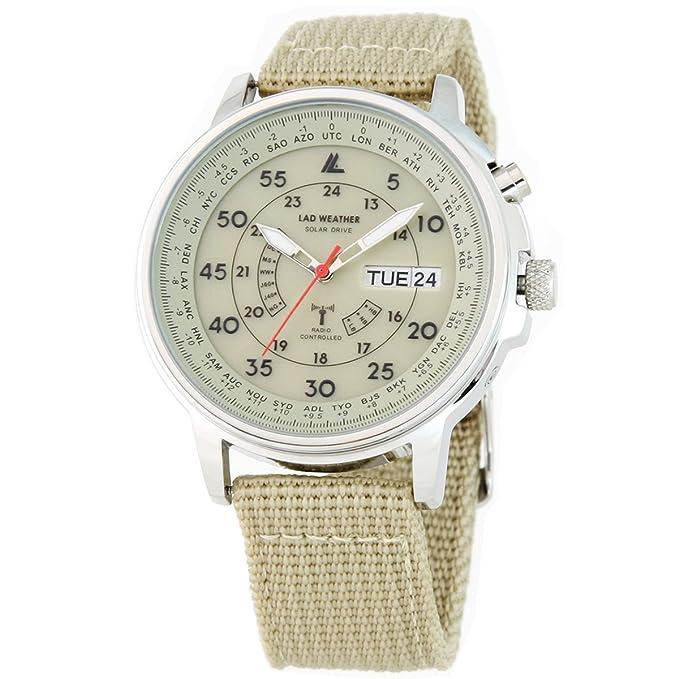 Lad Weather - Reloj solar de pulsera radiocontrolado con ajuste automático de la hora, calendario perpetuo y de la hora mundial, resistente hasta a 100 ...