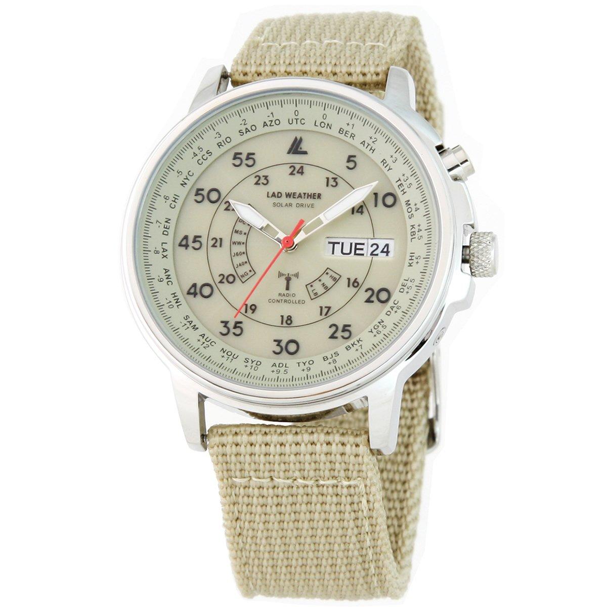 b28fedf452f440 [LAD WEATHER]腕時計 ソーラー電波時計 100m防水 ミリタリー時計 ベージュ lad017