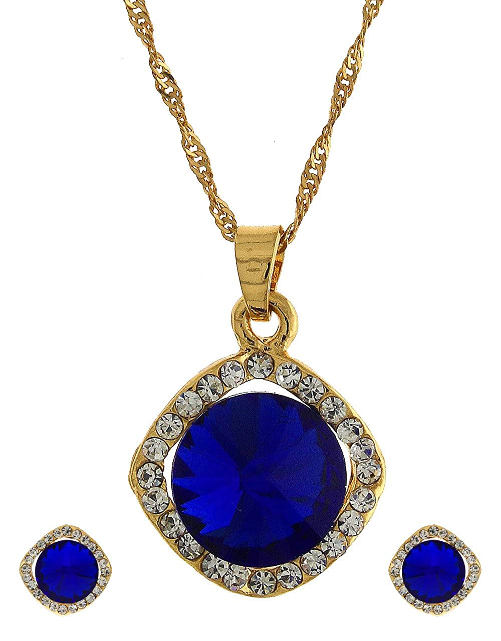 Anuradha Art Silver Colour Studded Blue Colour Shimmering Stone Necklace Set For Women//Girls