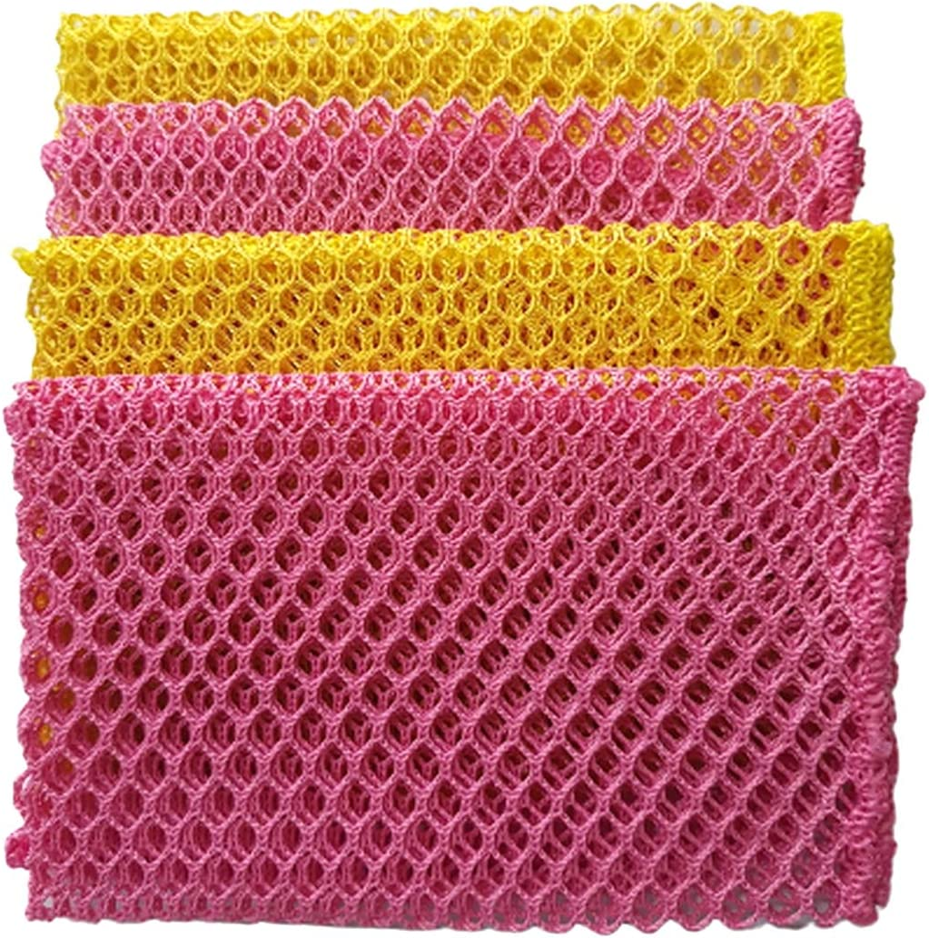 D.koko 2colors(Pink,Yellow,) 4PCS Innovative Dish Washing Net Cloths,Scourer.