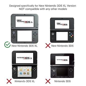 TNP New 3DS Funda (Negro)- Plástico + Aluminio Full Body - carcasa rígida con carcasa para New Nintendo 3DS 2015
