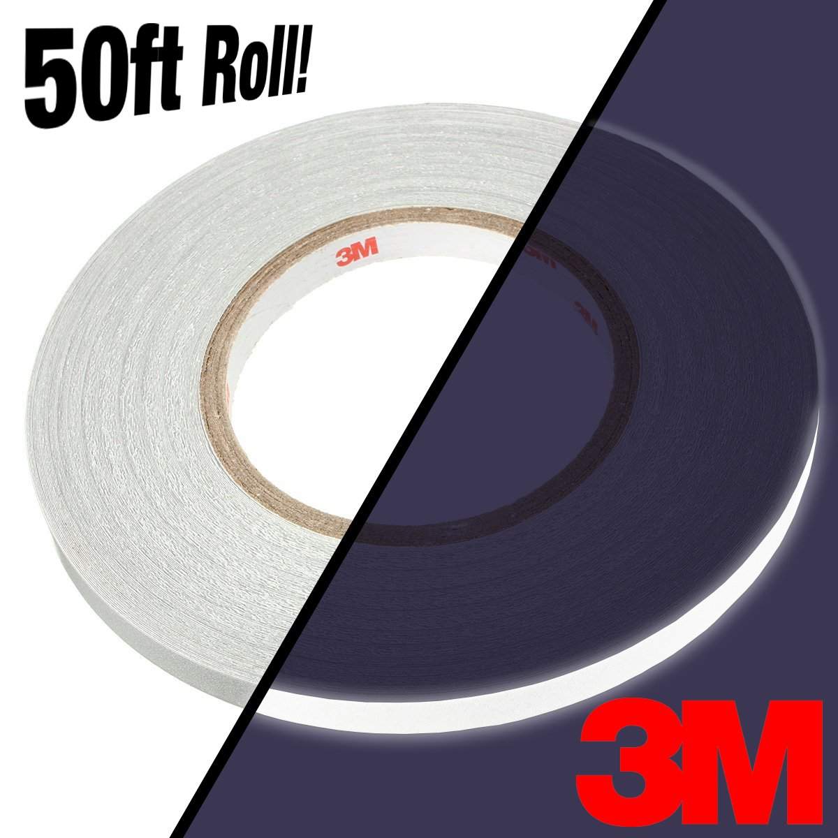 3M Silver White Reflective Automotive Adhesive Vinyl 50ft Bulk Roll 3//4 x 50ft 3M Vinyl