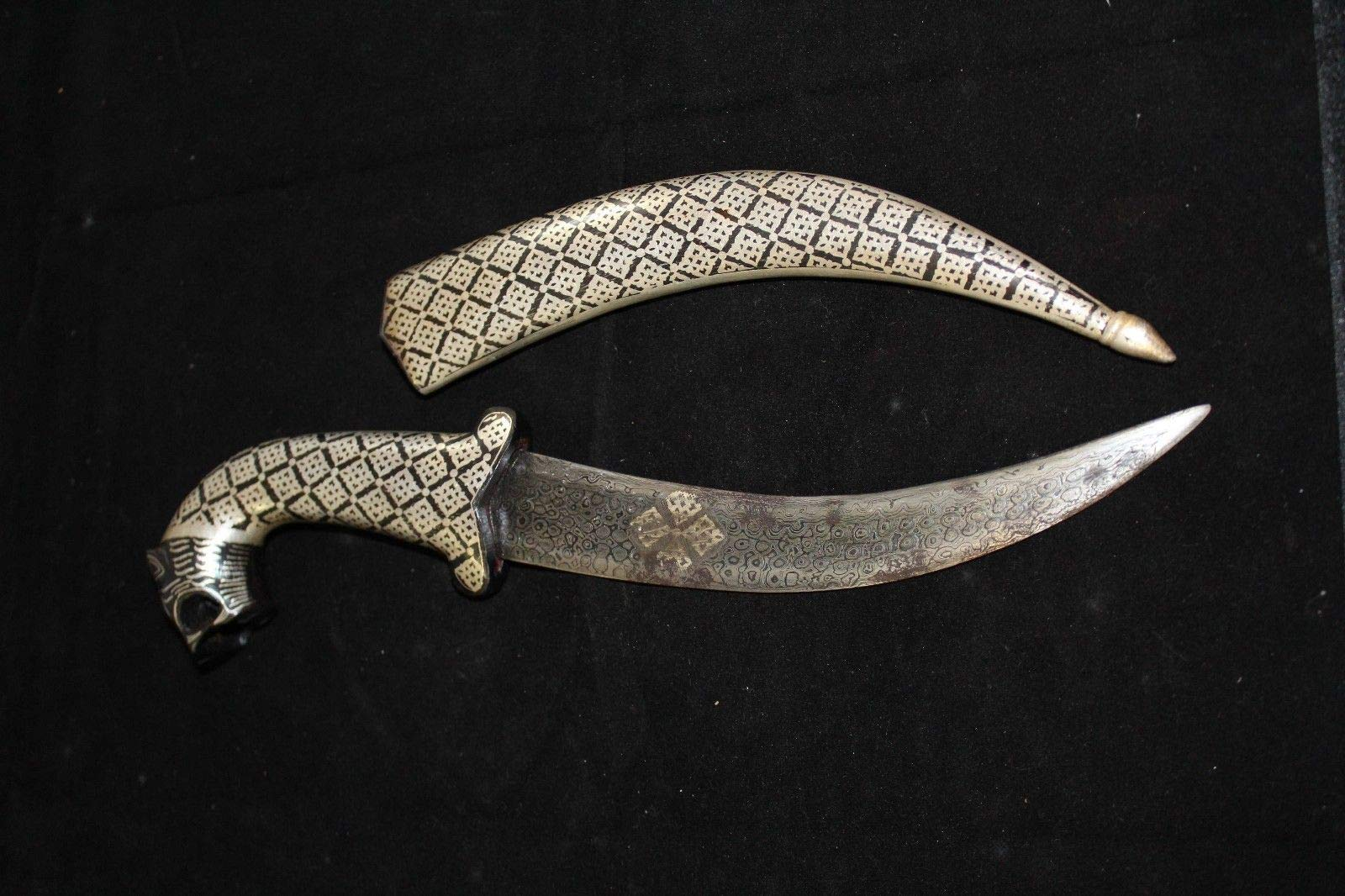Rajasthan Gems Dagger Knife, Damascus Steel Blade, Silver Wire Bidaree Work Tiger face Handle by Rajasthan Gems (Image #5)