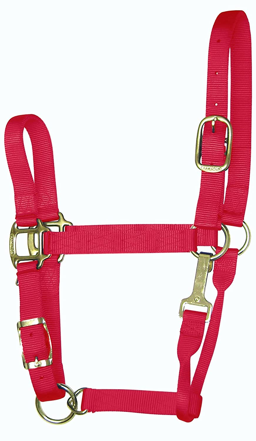 Hamilton 3-5 1 Nylon Quality Adjustable Horse Halter with Snap, Yearling, Raspberry, for Horses 300 to 500 lbs.