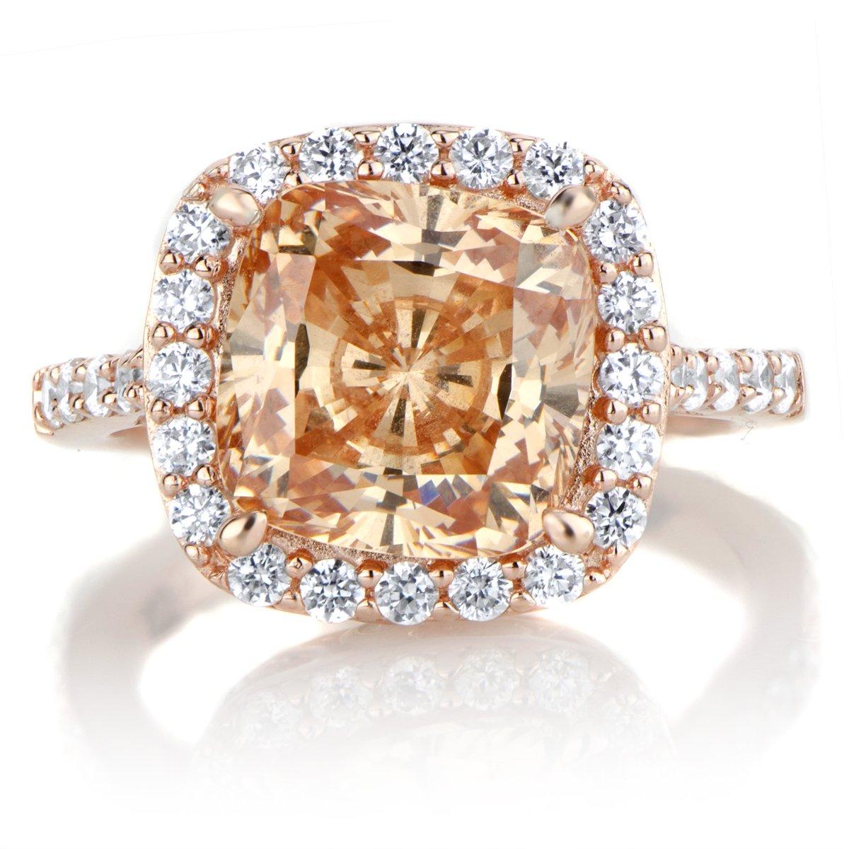 Emitations.com Sheeras 3.87ct Rose Goldtone and Peach CZ Cushion Cut Halo Engagement Ring