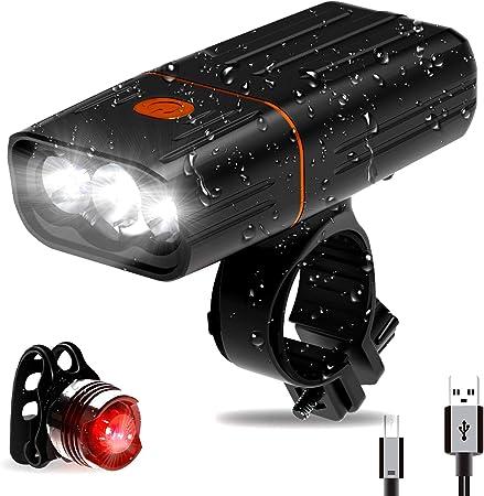 Bike Bicycle Lights USB Rechargeable Set Mountain Cycle Front Back Headlight UK