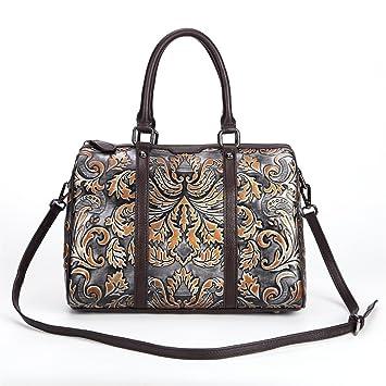 a88c15277fe30 AFCITY Damen Handtasche Kosmetiktasche Leder Retro Boston Tasche Designer  Floral Top Griff Handtasche Tote Satchel Cross