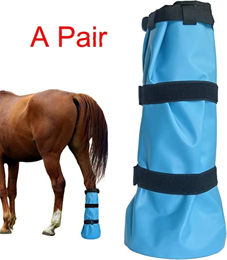 DEEALL 2PCS Horse Soaking Boot Equine Hoof Soaking Poultice Bag Draft Hooves Wrapped Easy Soaker Sack Care Icing Bucket Treating Bags with EVA Pad