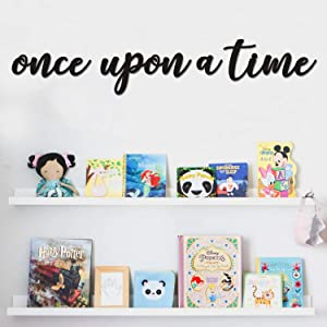 Huray Rayho Once Upon a Time Wall Sign Toddler Nursery Wood Sign Hanging Decor Kids Bookshelf Bedroom Home Wall Art Baby Shower Children Boys Girls Gift Ideas
