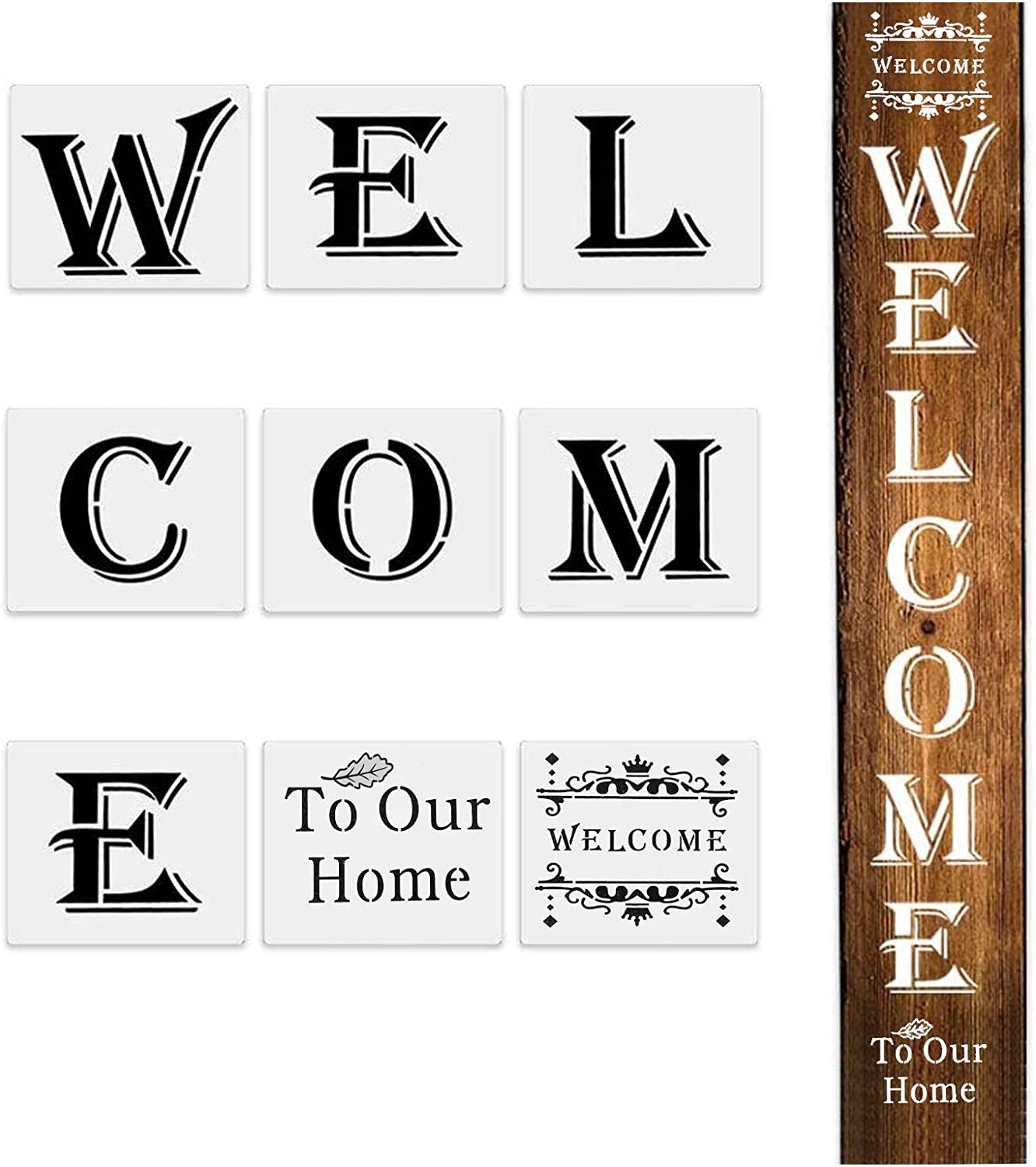 Welcome Home Stencil - 9 Pack, Reusable Large Vertical Home Wall Sign Stencils Templates for Painting on Wood, Large Seasonal Letter Stencils for Porch Signs and Front Door Outside Home Decorations