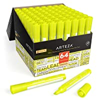 Arteza Highlighters Set of 64, Yellow Color, Wide Chisel Tips, Bulk Pack of Markers...