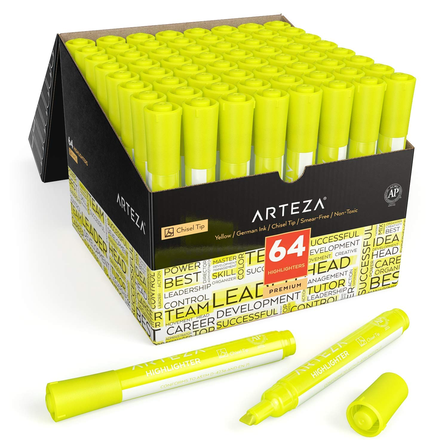Arteza Highlighters Set of 64, Yellow Color, Wide Chisel Tips, Bulk Pack of Markers, for Office, School, Kids & Adults by ARTEZA (Image #1)