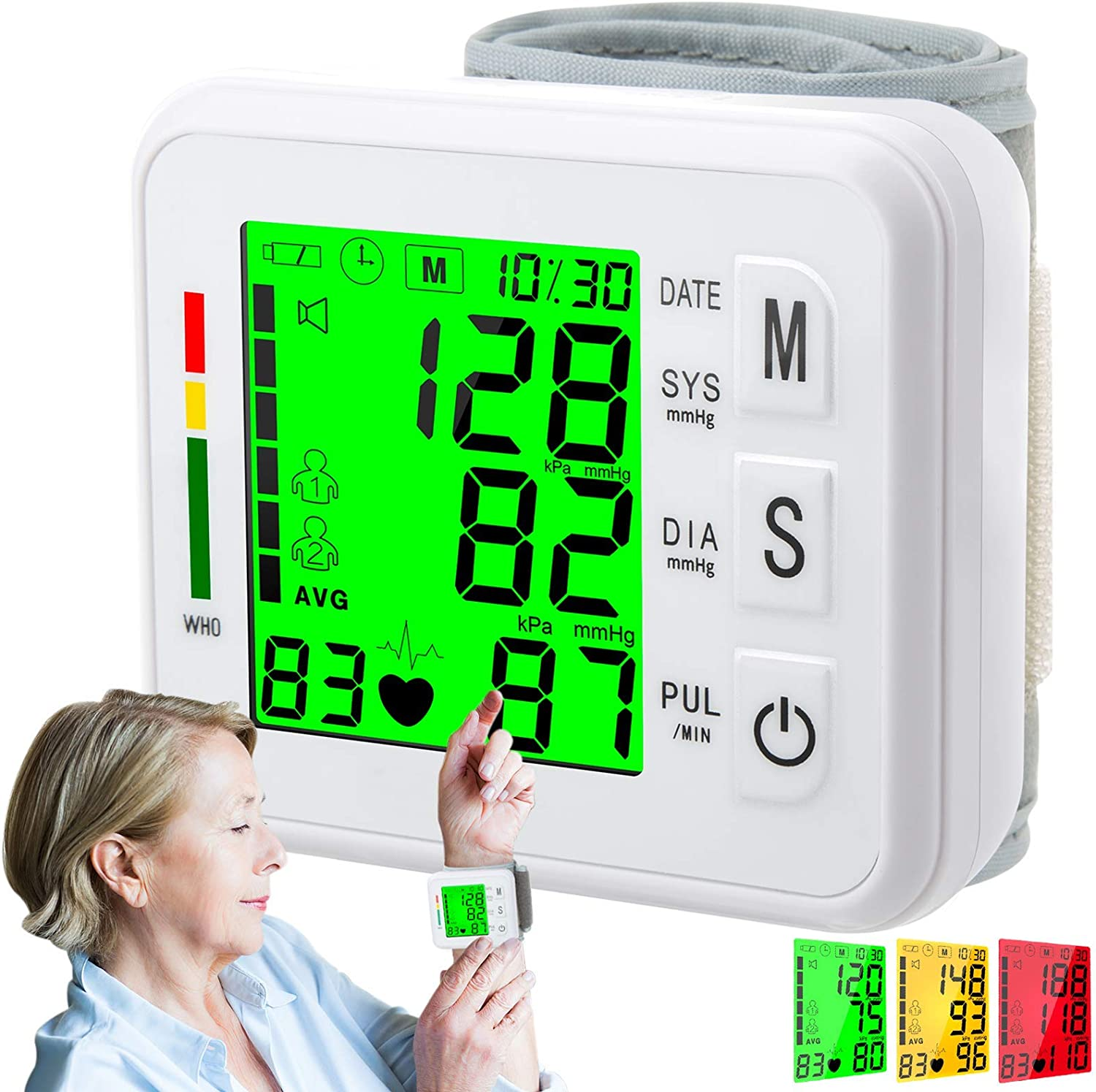 Atrilly Blood Pressure Monitor, Wrist Bp Monitor Cuff with Large Screen, 2x99 Memory, Automatic Digital Blood Pressure Machine Pulse Rate Monitor for 2 User Home Personal Use Elderly Adult