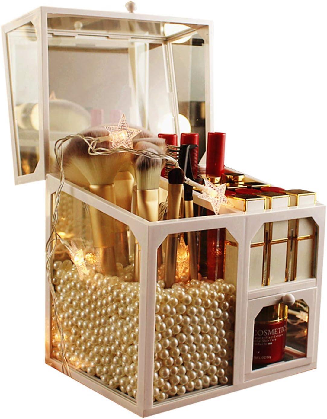 Makeup Brush Holder for Vanity, Flip lid with Dust Proof, Glass Makeup Organizer , Brushes and Lipsticks Holder