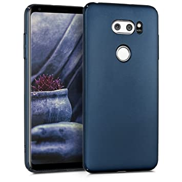 kwmobile Funda para LG V30 / V30S / V30+ / V30S+ - Carcasa Protectora Dura para móvil - Case Trasero Duro en Azul Oscuro Metalizado