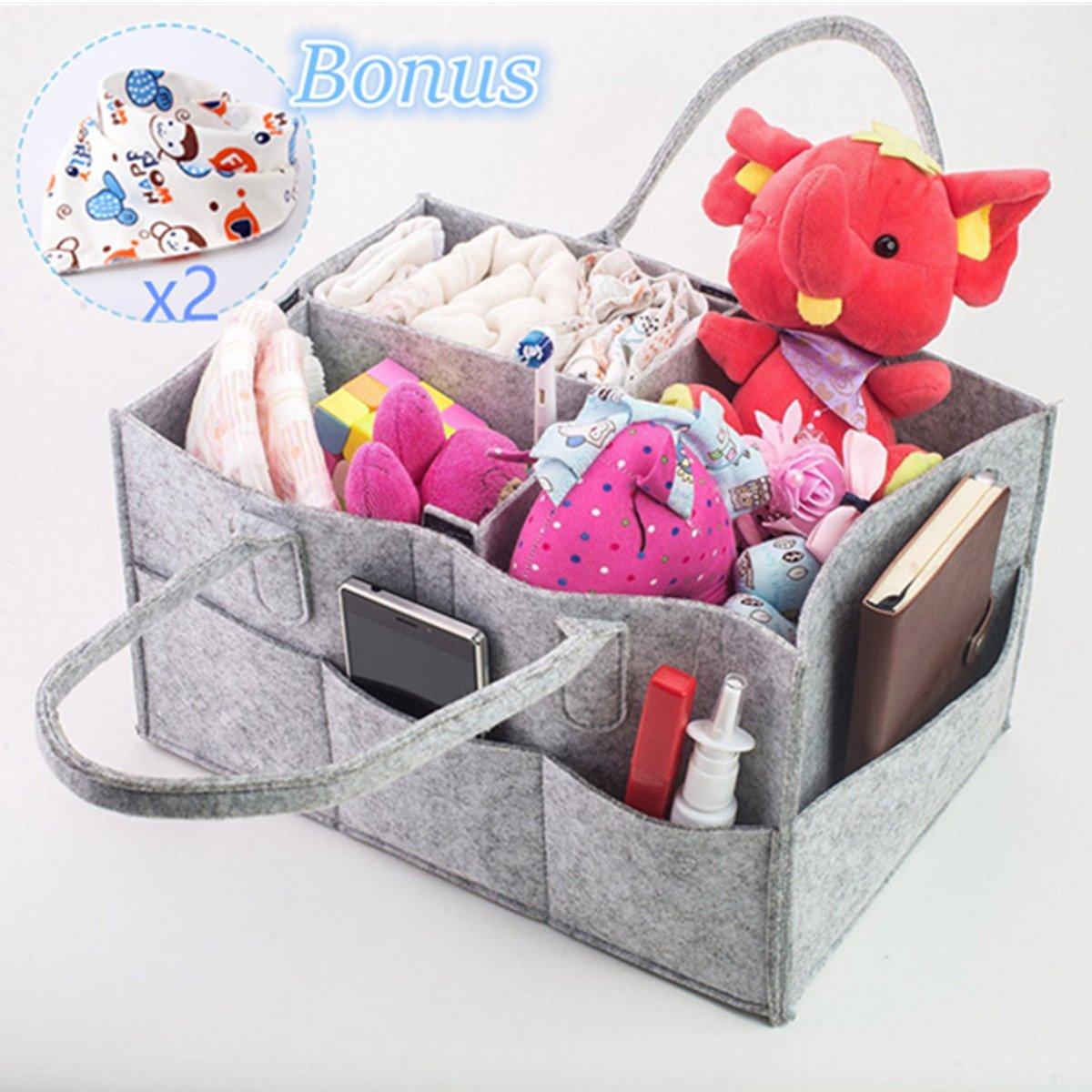 Baby Diaper Caddy Organizer Nursery Storage Bag para pañales, toallitas y juguetes. Portable Diaper Caddy con compartimentos intercambiables. Bonificación: 2 baberos Drool aleatorios Cozone