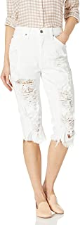product image for James Jeans Women's Chopper Distressed Boyfriend Knee Short in Destroyed White