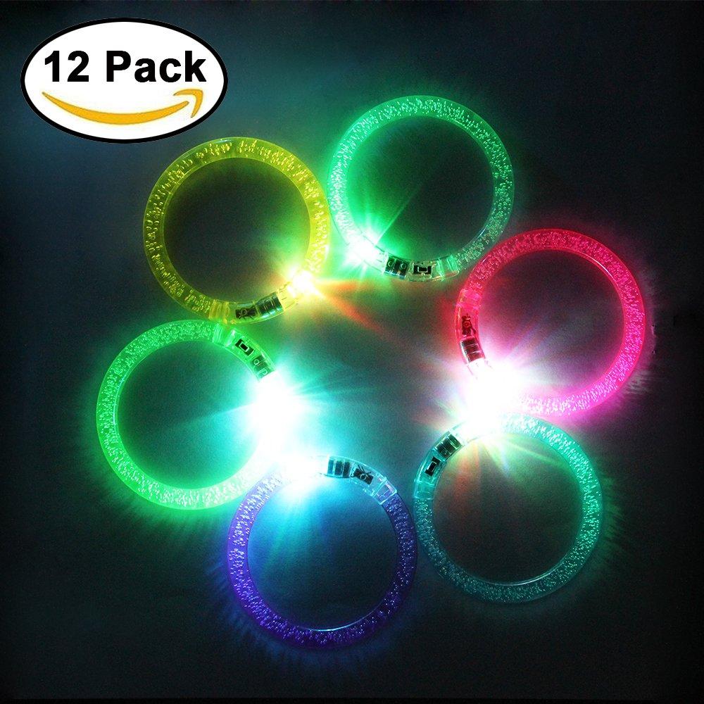JTDEAL [12 Stück] Leuchtarmbänder, LED Armband Armreif, Blinkleuchte Armbänder für Geburtstag, Konzert, Party, Hallowen, Weihnachten Hallowen
