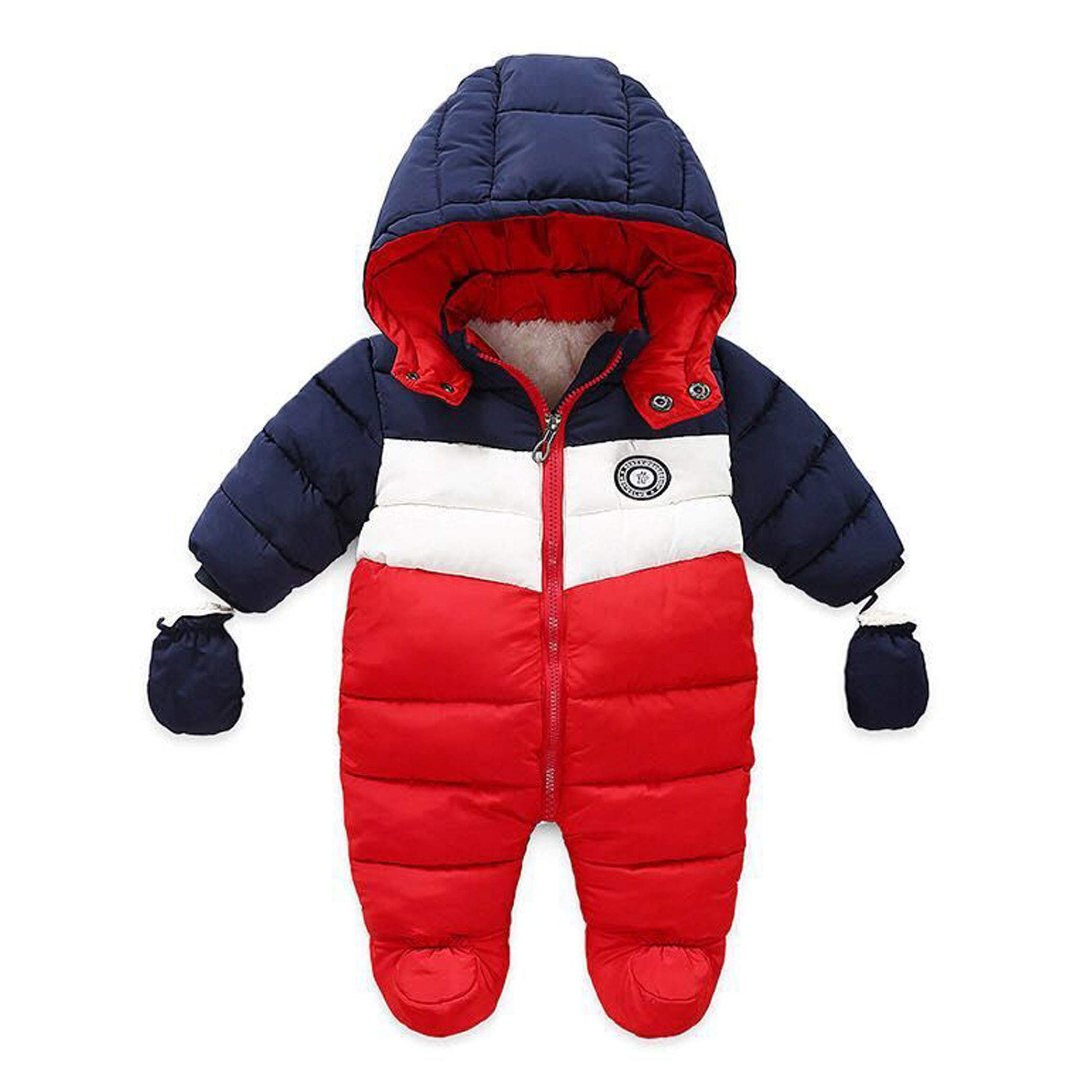 RUIMING Newborn Baby Snowsuit Infant Winter Coat Hooded Zipper Jumpsuit Outwear Footed Romper (9-12 Months) by RUIMING