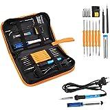 Eléctrico Soldador Kit de Estaño con Caja de Herramienta Temperatura Ajustable 200-450 Deg.