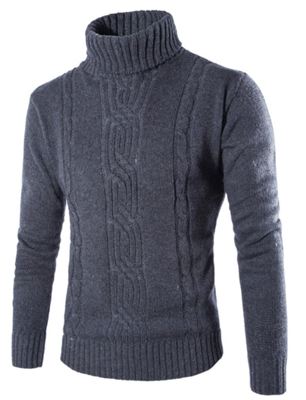 Men's Turtleneck Long Sleeve Sweater Knit Pullover Sweater Slim Fit