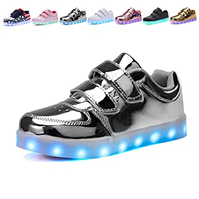Voovix Kids LED Light Up Shoes Low-Top Sneakers for Boys and Girls(Silver 7fee1c0ed97c