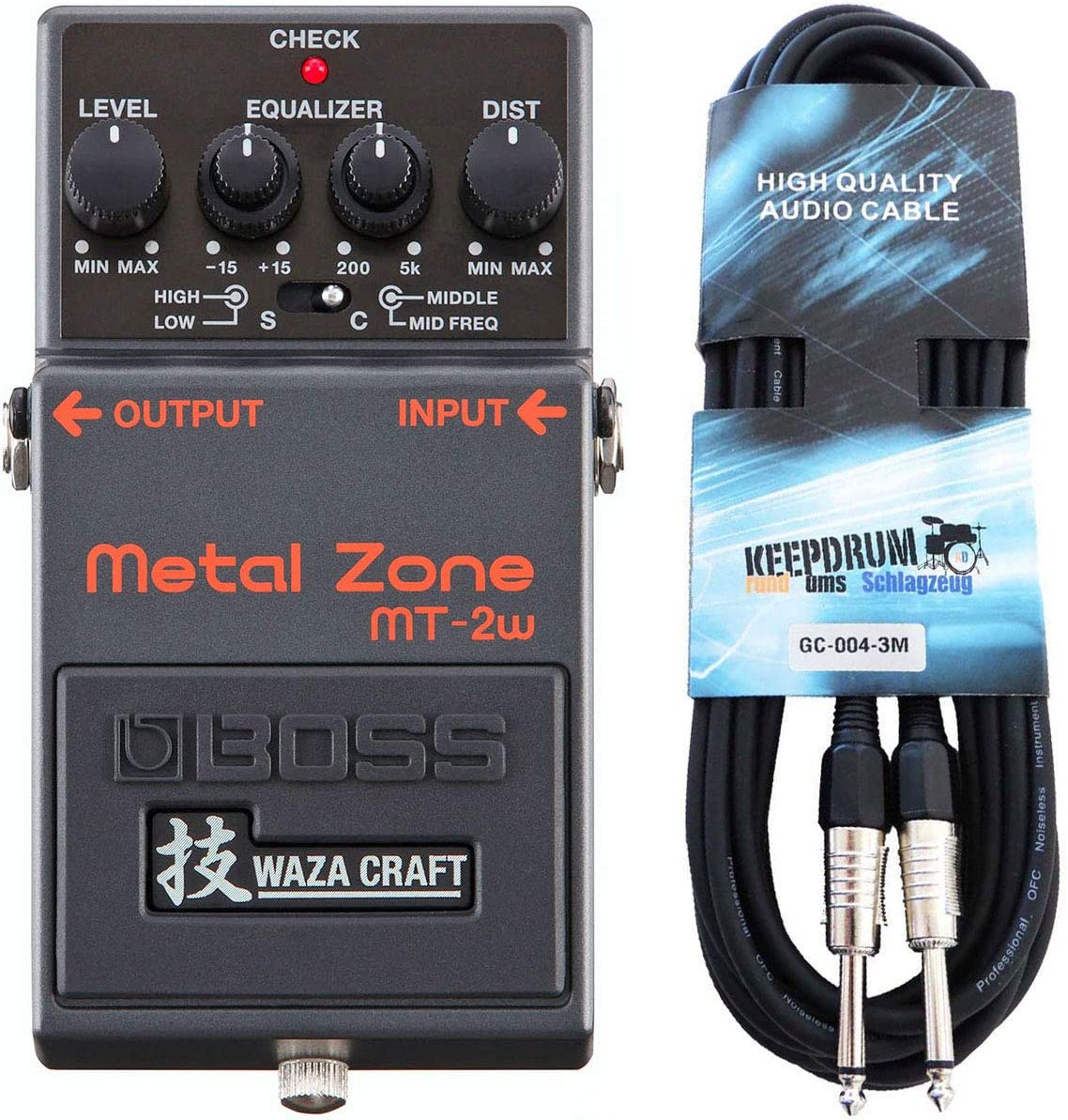 Boss MT-2w Metal Zone Waza Edition - Pedal de distorsión y cable para guitarra keepdrum (3 m)