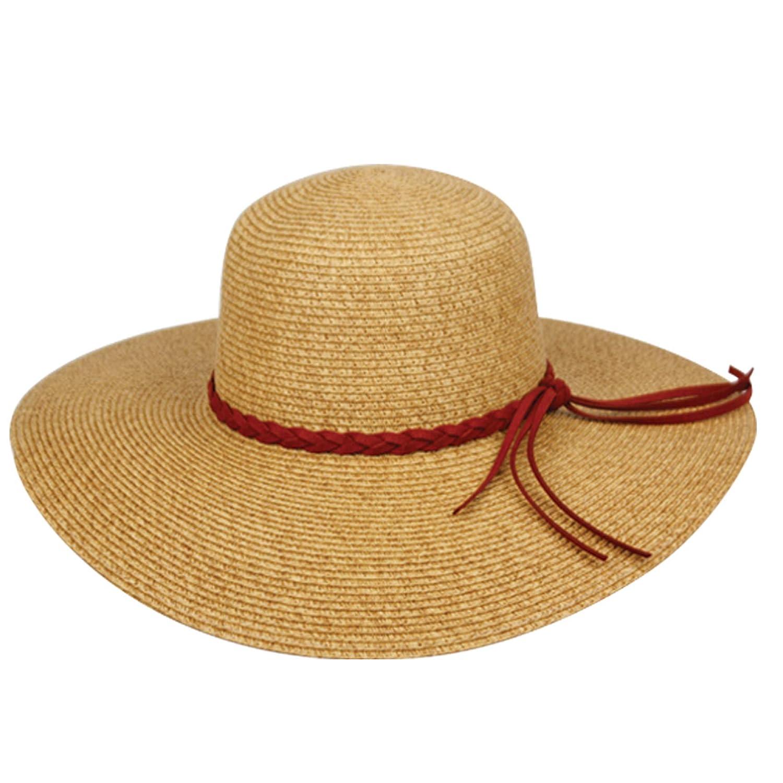 f76ba4b840f Epoch hats Women s Braid Straw Wide Brim Fedora Hat UPF 50+ w Adjustable  Drawstring (FL2245BROWN)  Amazon.ca  Clothing   Accessories
