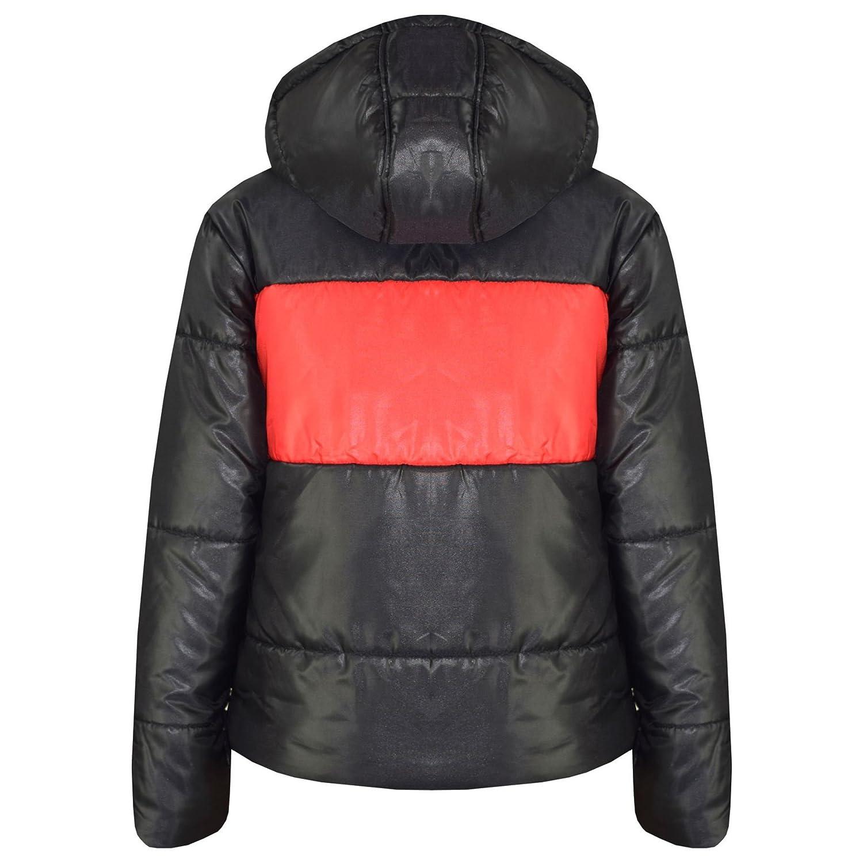 Kids Girls Boys Mustard Contrast Panel Jackets Hooded Padded Warm Coats 5-13 Yrs