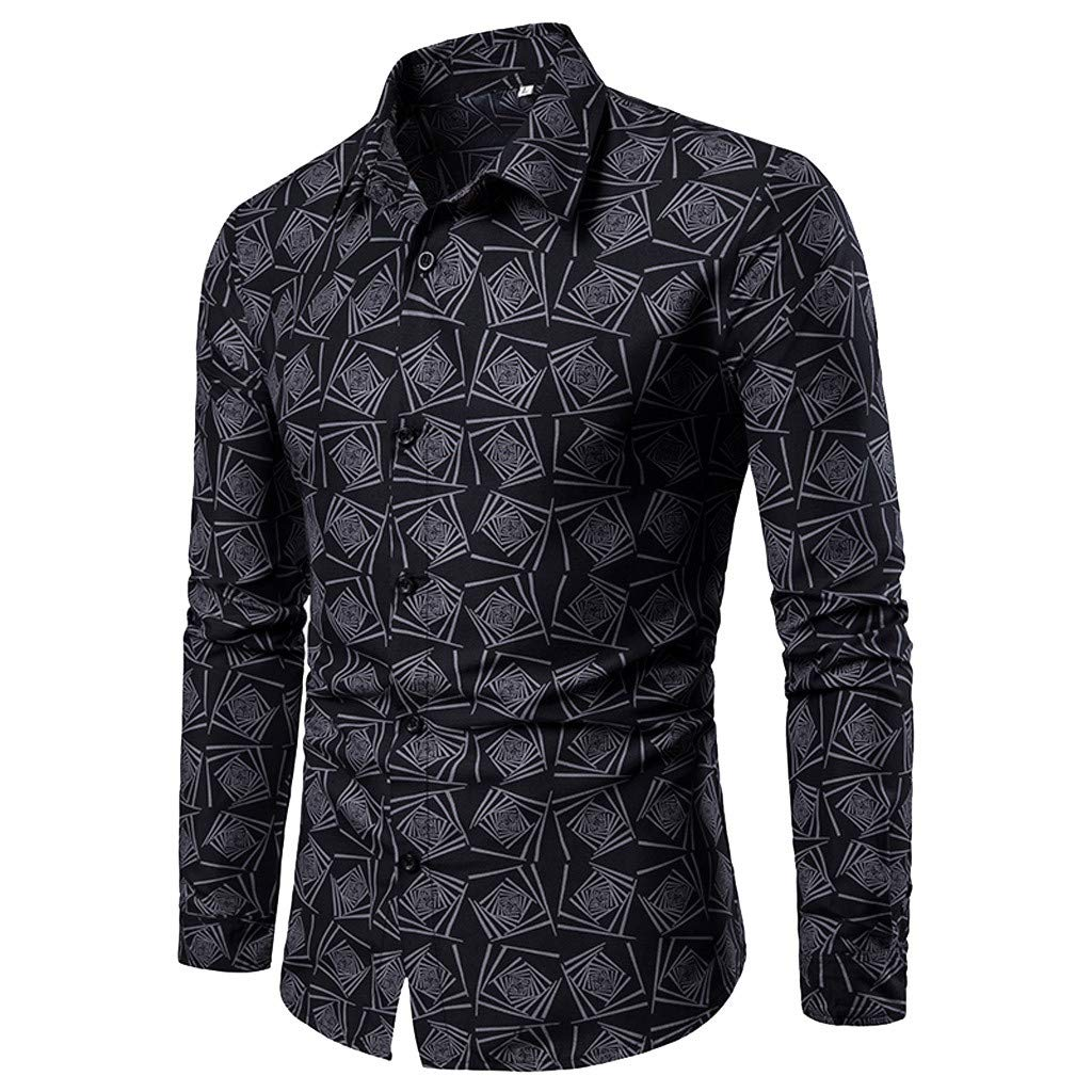 Sports T-Shirts for Teens,Spring and Summer Men's Casual Pattern Stand Collar Button Long Sleeve Shirt,Men's Big & Tall Shirts,Black,M