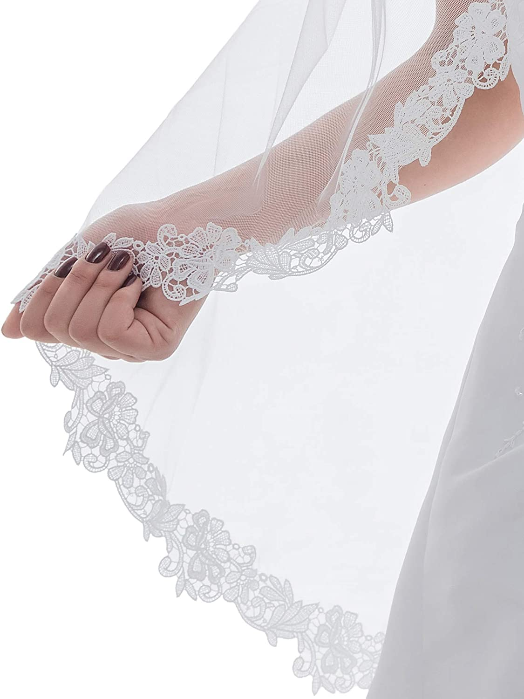 SAMKY 1T 1 Tier Flower Vine Lace Edge Bridal Wedding Veil