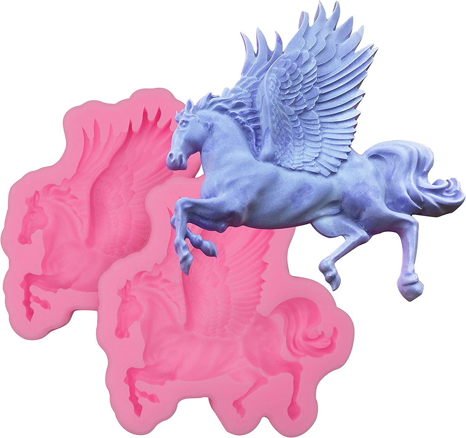 HengKe 2Pcs Flying Horse Silicone Mold,Horse Unicorn Mold,Pegasus Gummies,elderberry gummies for kids,Making Cake,Decoration,Chocolate,Polymer Clay,Cupcake Decor,Sugar Craft,Resin Clay Molding Baking